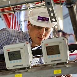 Manchester academic working on a pilot rig