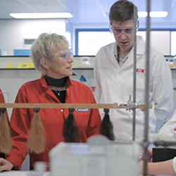 laboratory team working on hair