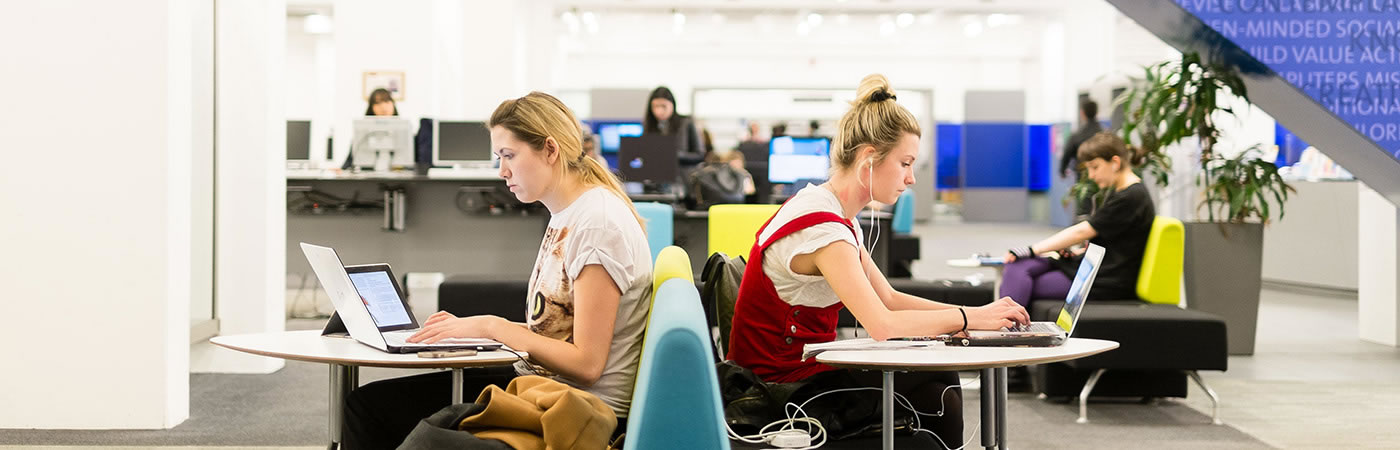 University of Manchester students studying in library