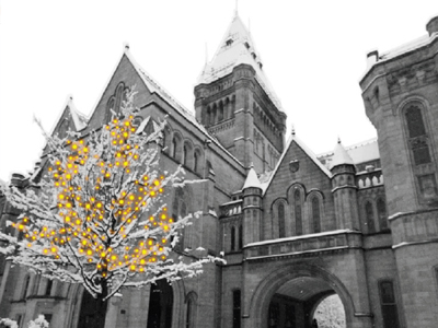 This year's card shows The Whitworth Hall and Manchester Museum taken from