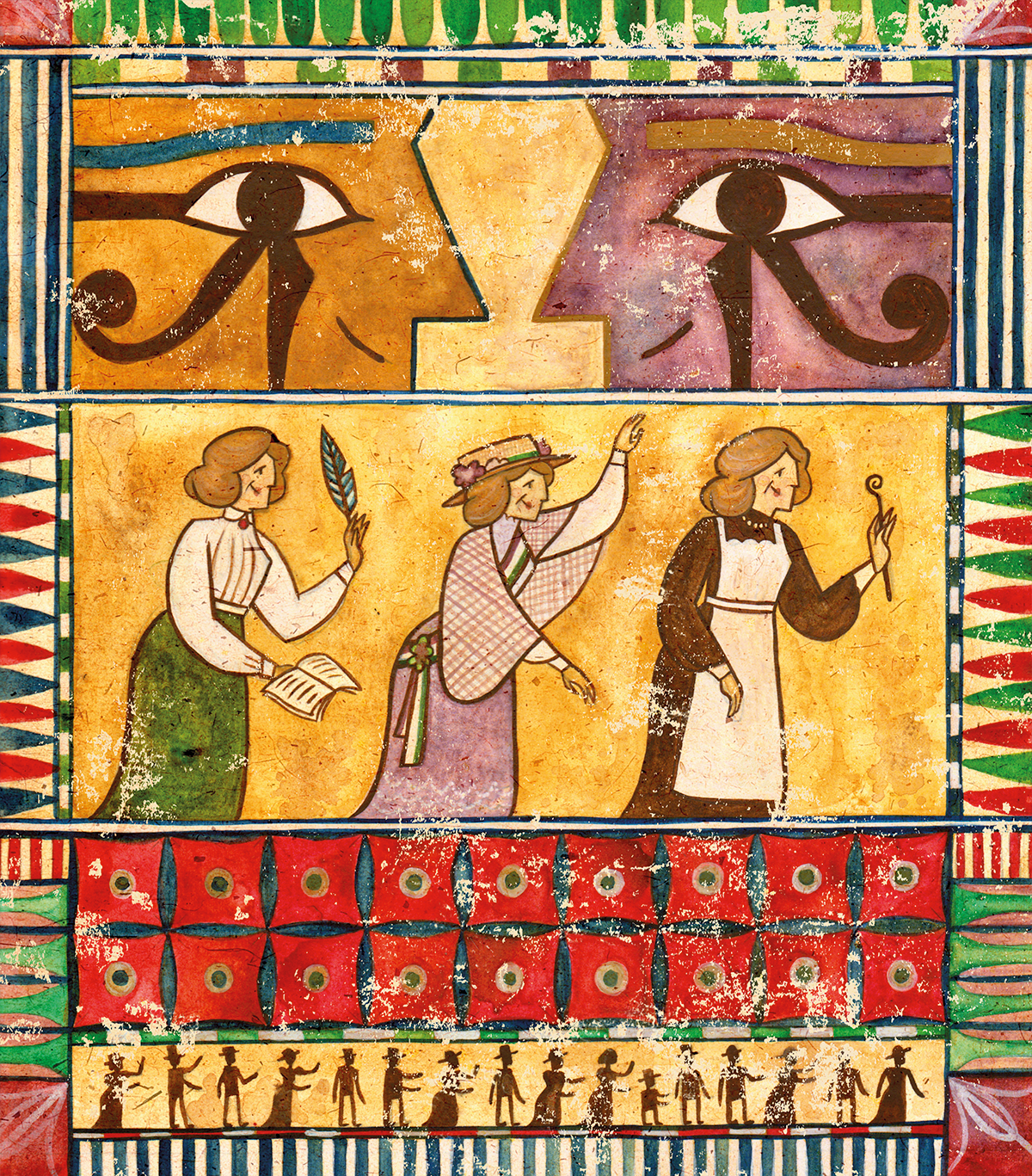 Illustration depicting the three pioneering areas of Margaret Murray's life; as an academic; a suffragette; and a egyptologist