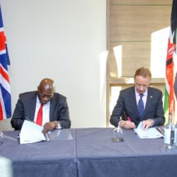 The Dean for FBMH, Prof Graham Lord and the HC for Kenya signing the MOU in London in January 2020, which paved the way for this collaboration