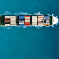 Birds eye view of ship transporting containers