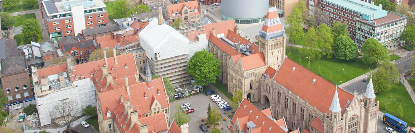 Aerial view of conservation work being undertaken on buildings