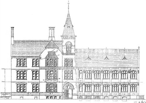 Drawing of the school before the extension, 1881