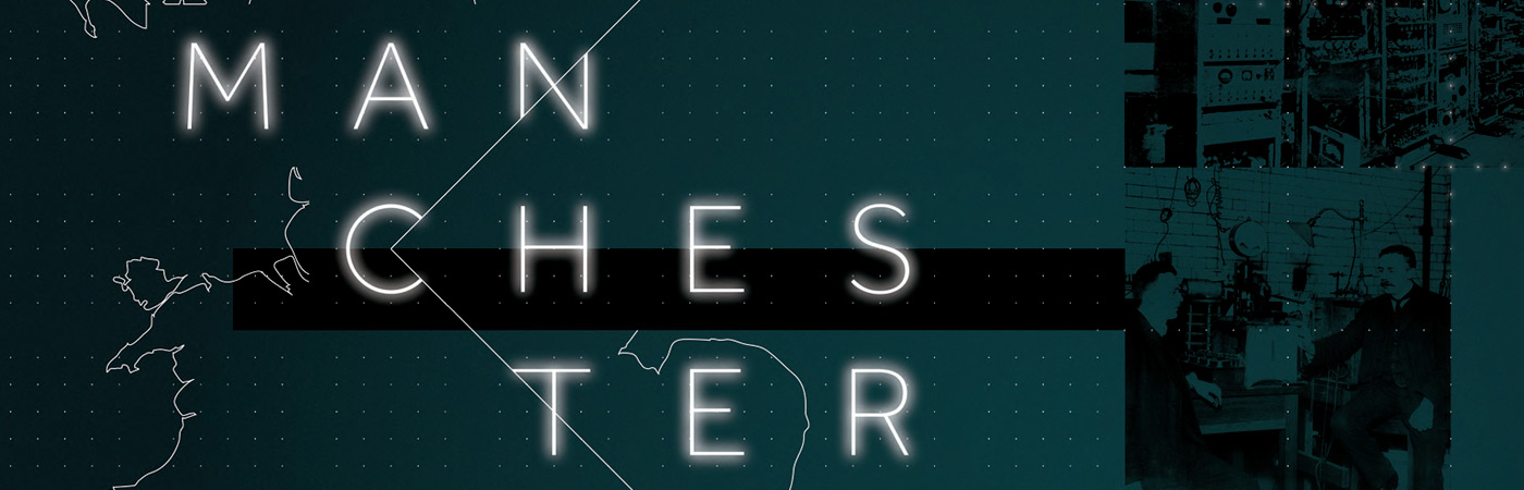 The word Manchester in large type over a graphic of the UK