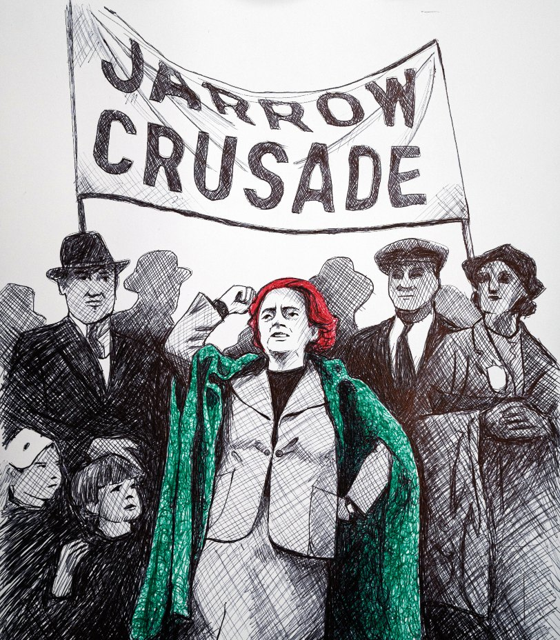 Ellen Wilkinson leading the Jarrow Crusade - a 300-mile march of unemployed shipwrights and steelworkers to petition the British government for help.