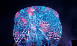The Lovell Telescope during the bluedot Festival at Jodrell Bank Observatory.