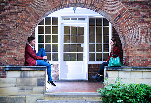 Students sat outside their halls