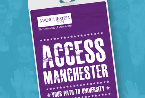 graphic of lanyard and Access Manchester badge