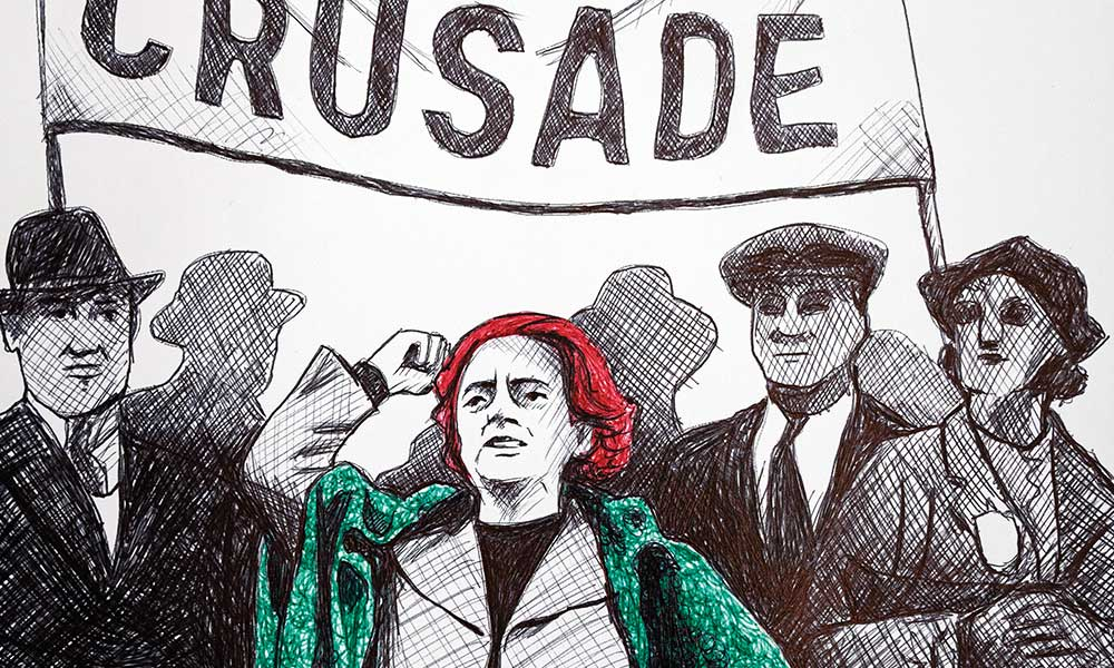 Hand-drawn illustration of Ellen Wilkinson, leading a march with a large banner behind her, with the words 'Jarrow Crusade' in bold letters.