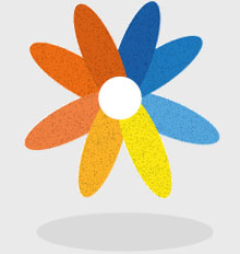 Age-friendly cities logo - multi-coloured flower