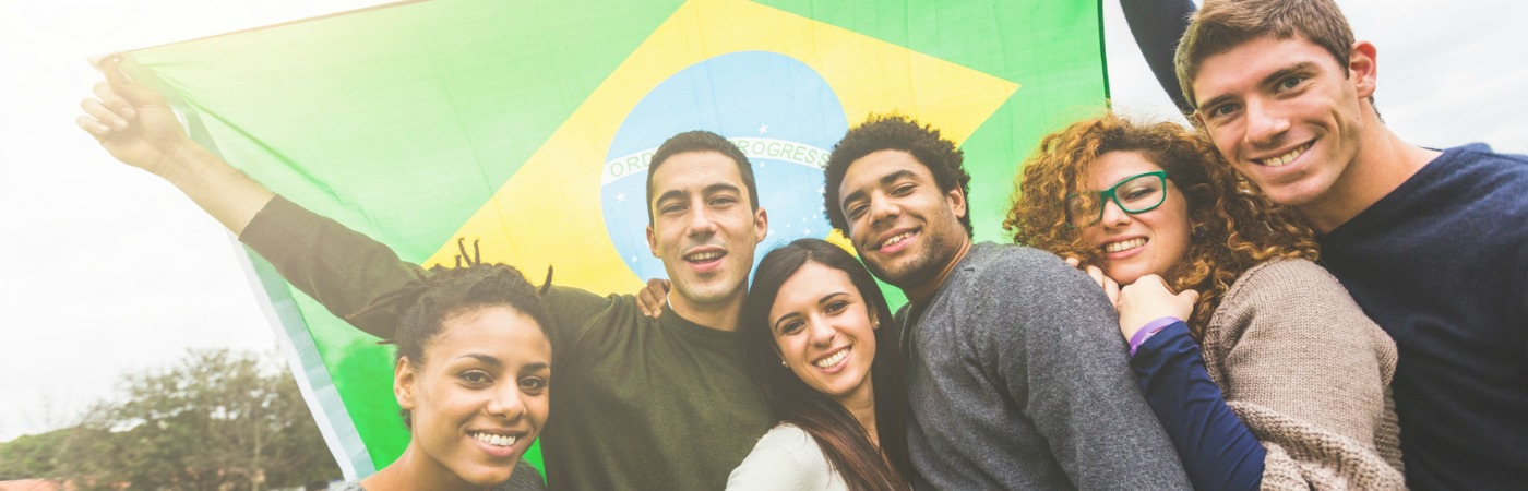 Brazilian students with flag