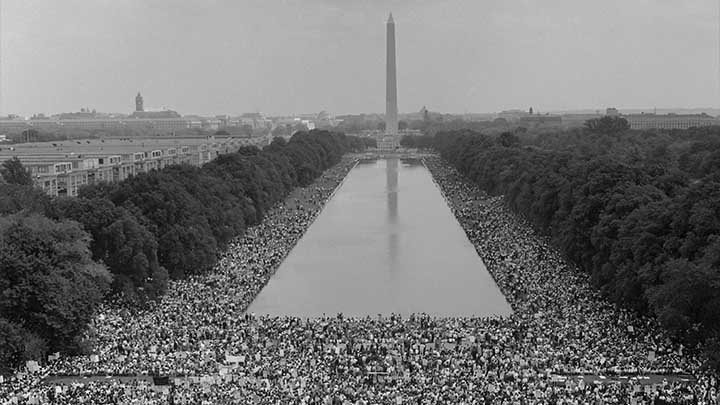 Archive photo of American civil rights march in Washington DC in 1963