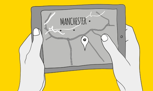 Drawing on yellow background of hands holding an ipad with a map on it