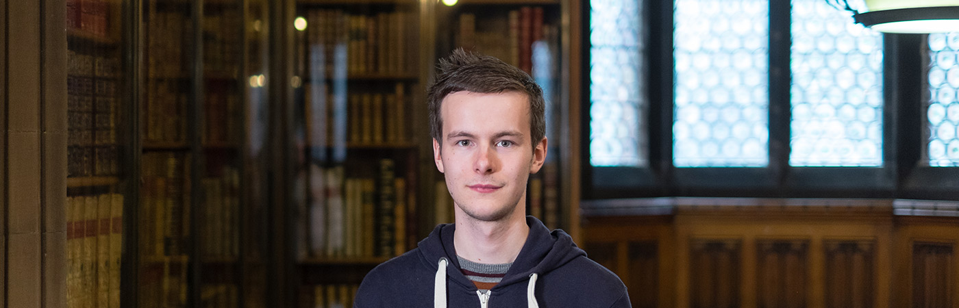 portrait of student in John Rylands library